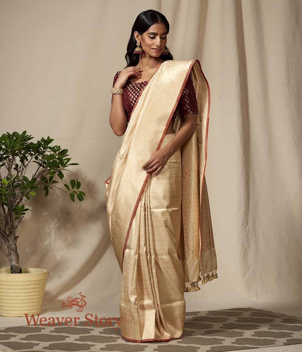Handwoven Cream and Gold Banarasi Kimkhab Saree