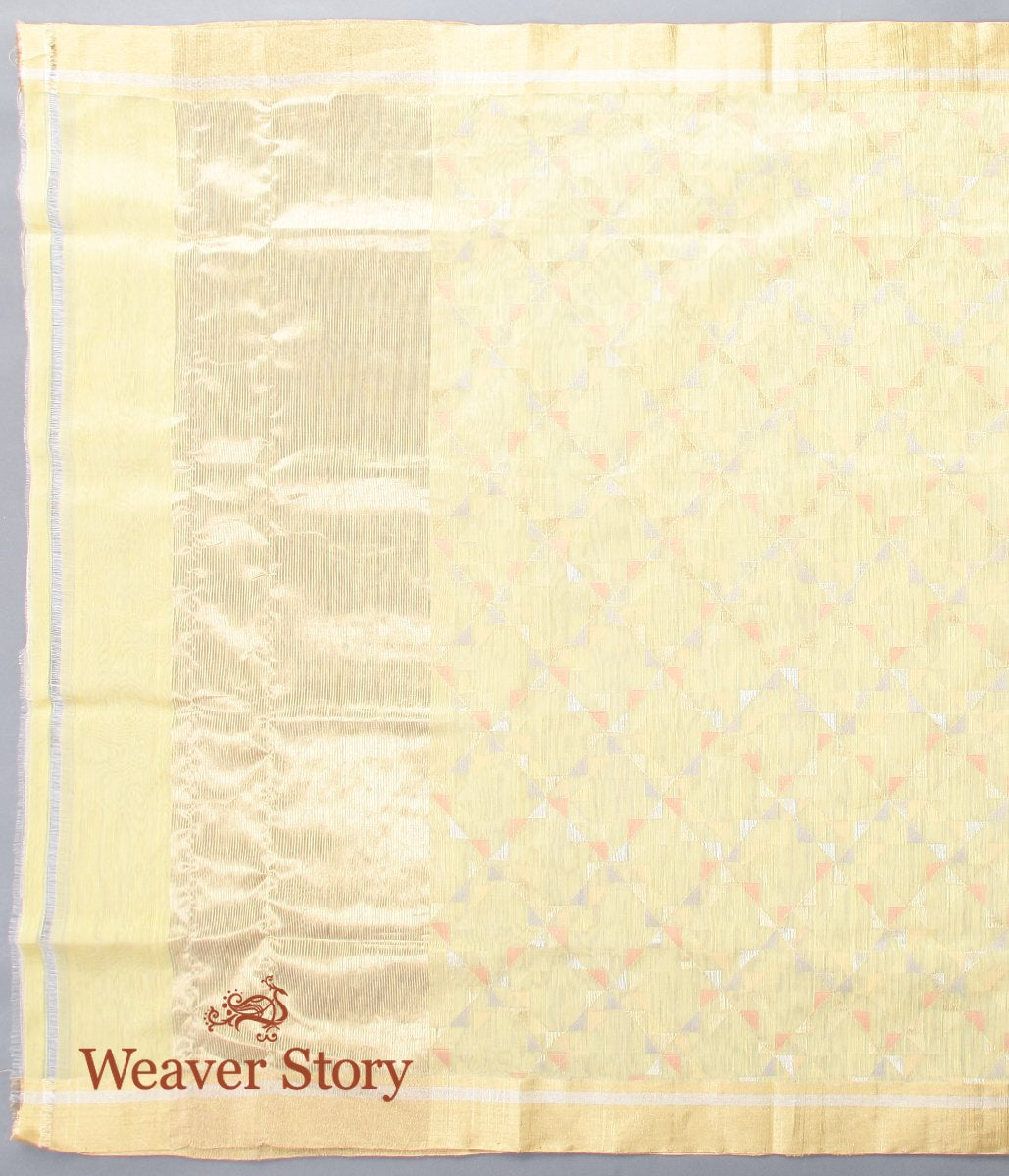 Handwoven Lemon Yellow Cotton Silk Chanderi Dupatta
