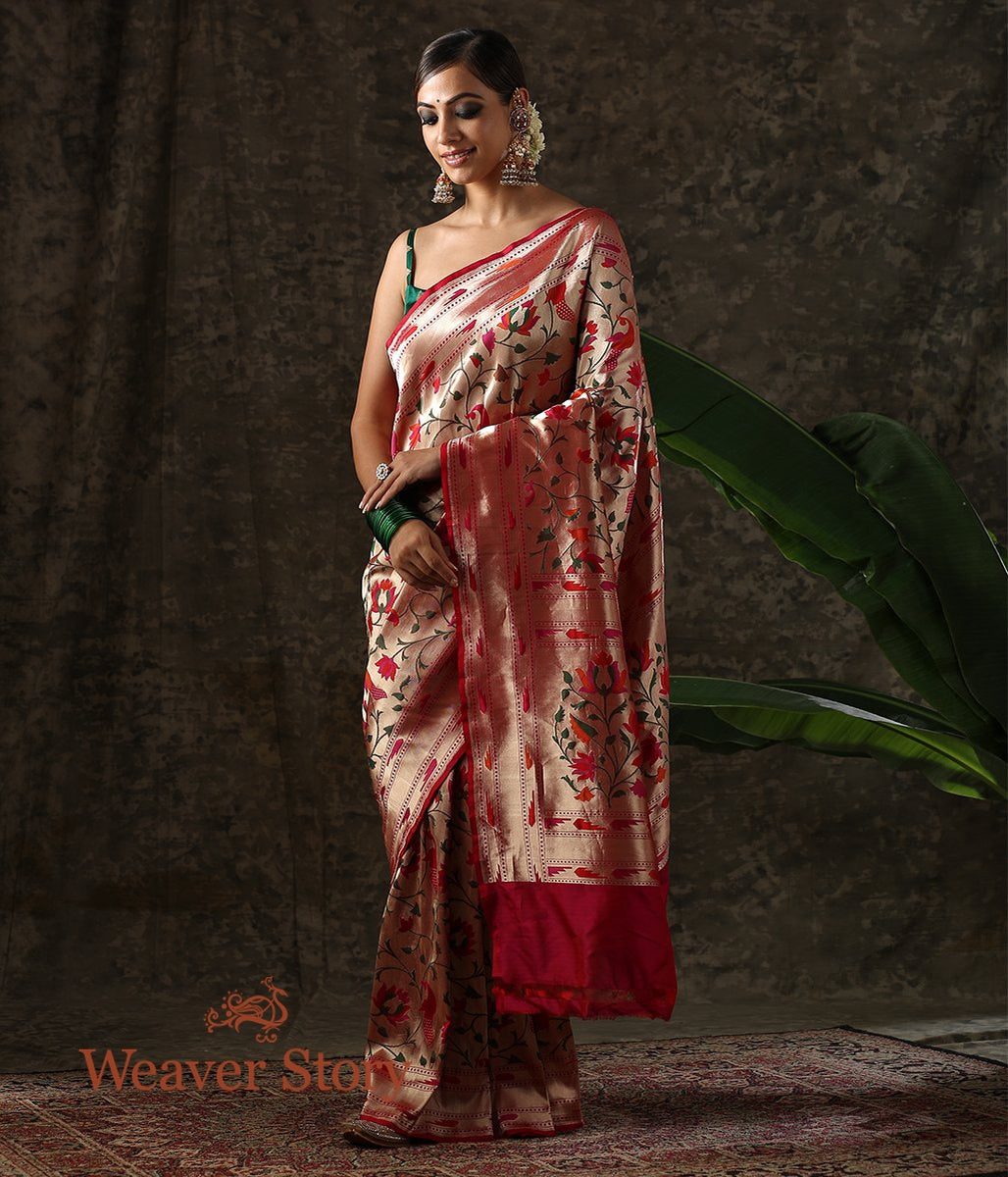 Handwoven Red Banarasi Paithani Saree with Meenakari