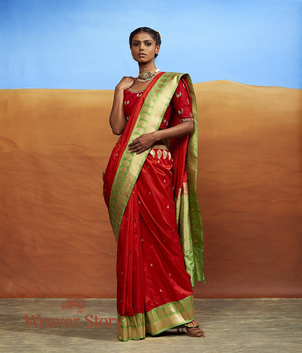 Handwoven Red Kadhwa Booti Saree with Contrast Green Border with Paisley