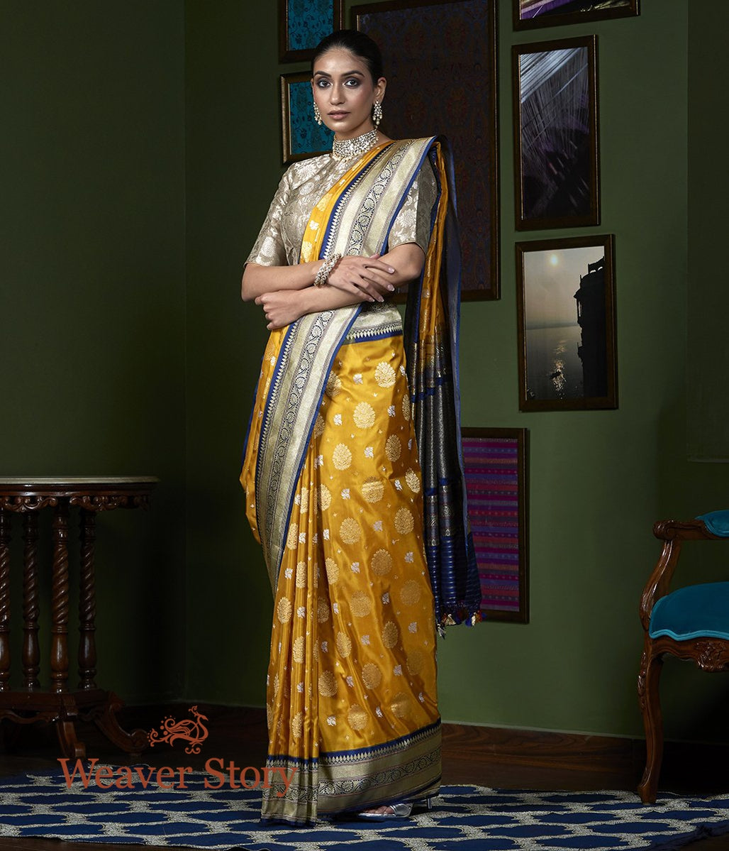 Handwoven Mustard Kadhwa Booti Saree with Blue Border
