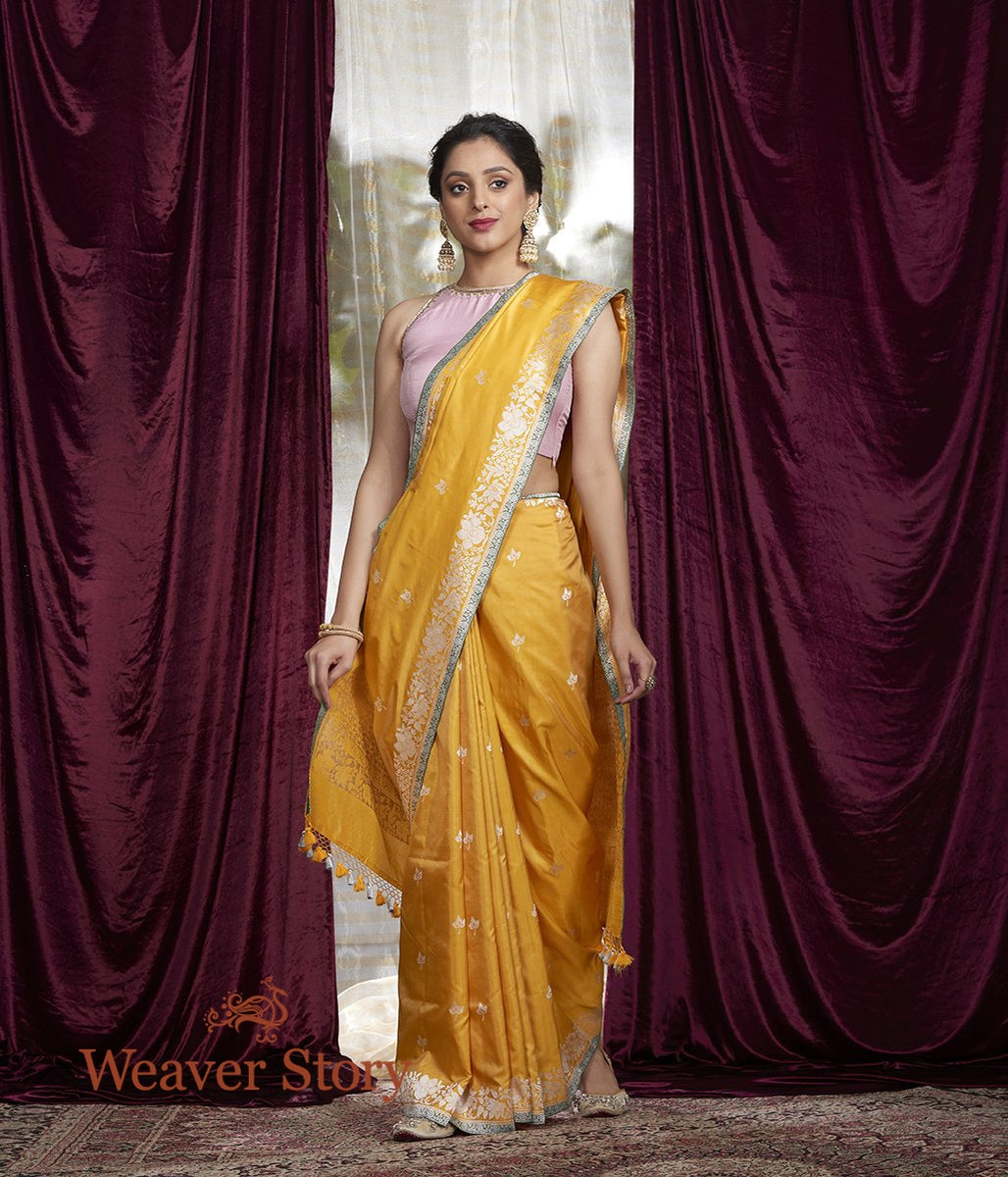 Handwoven Yellow Kadhwa Boota Saree with Floral Border