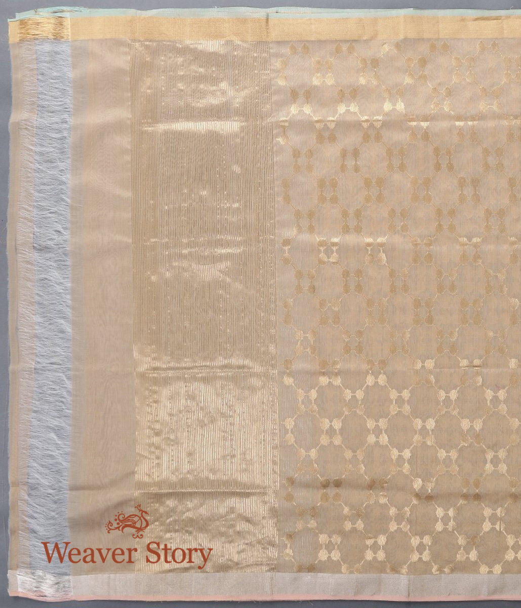 Handwoven Beige Chanderi Cotton Silk Dupatta with Gold Zari