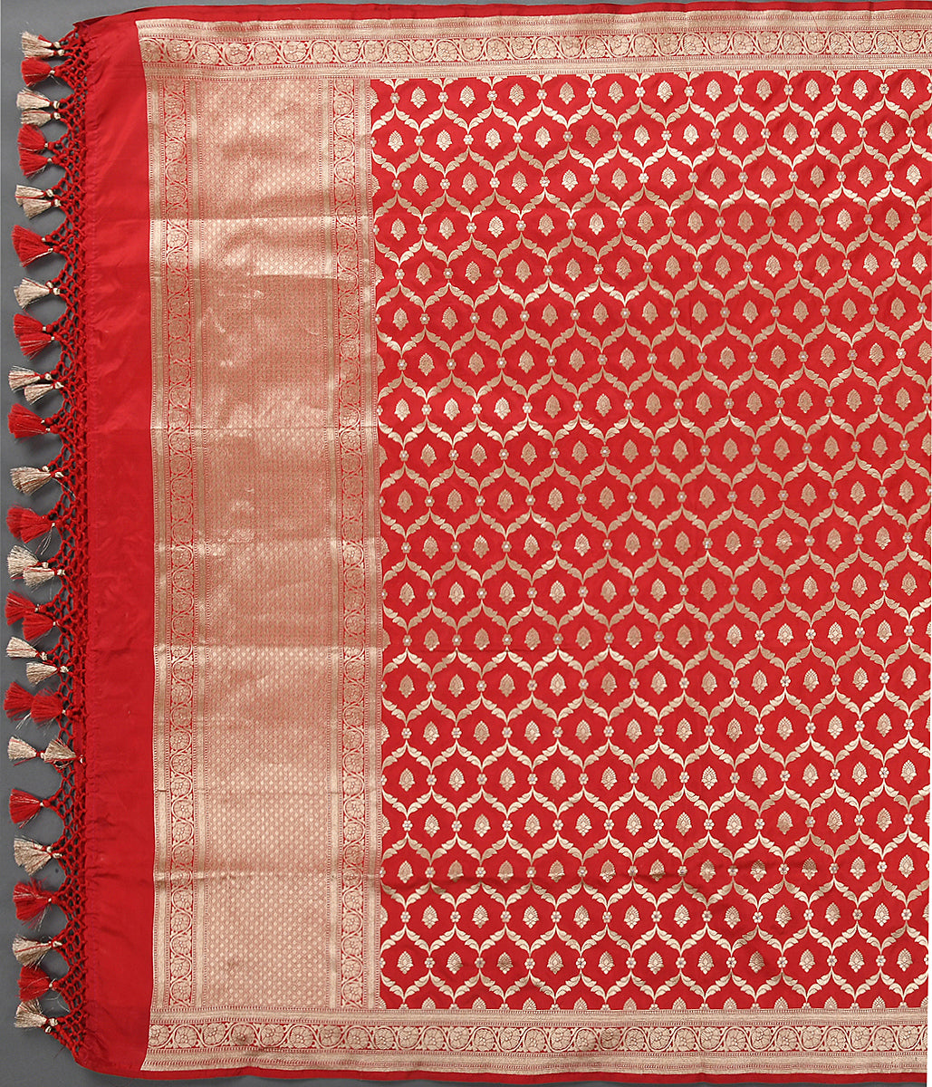 Handwoven Red Katan Silk Jangla Dupatta with Meenakri Jaal