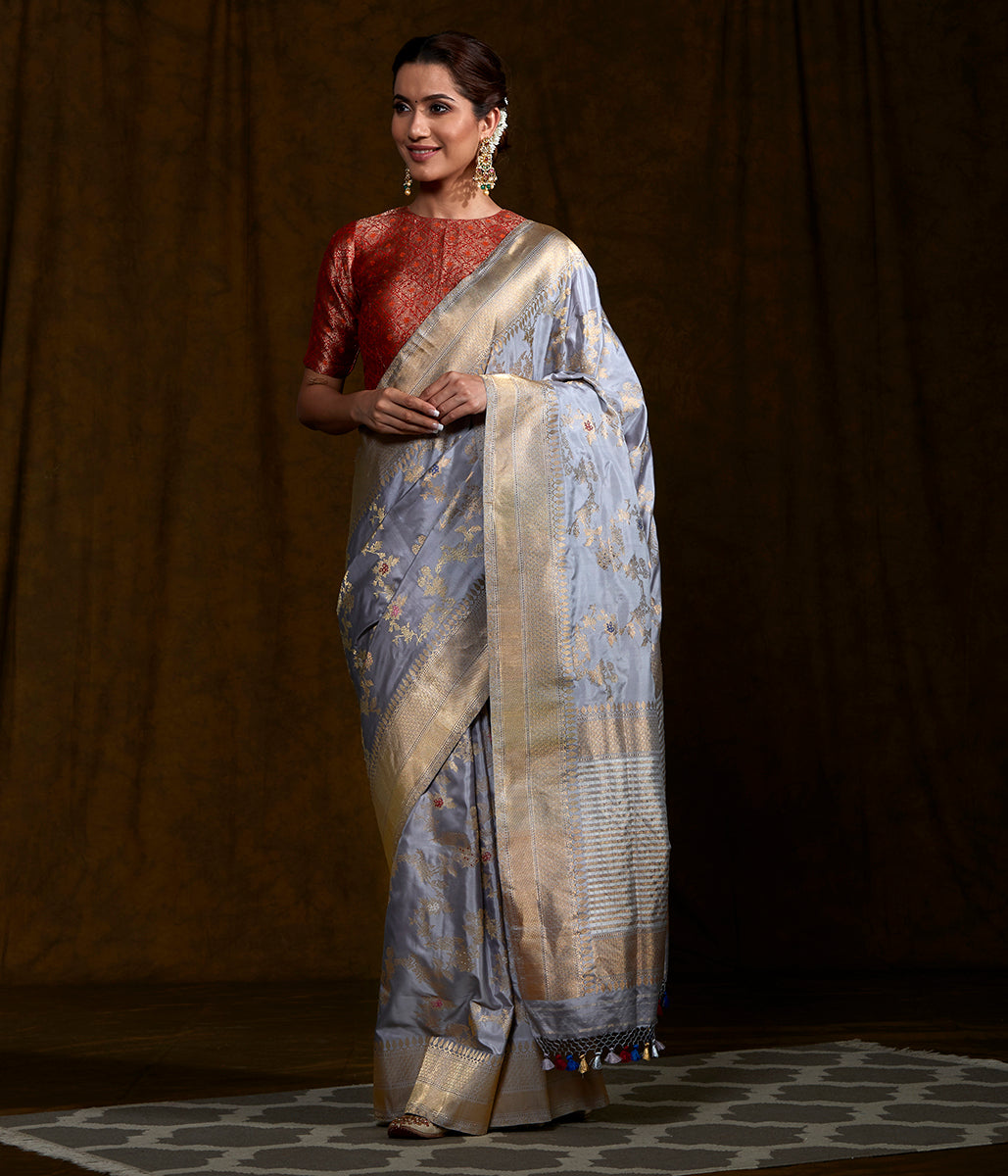 Handwoven Light Grey Kadhwa Jangla Saree with Meenakari