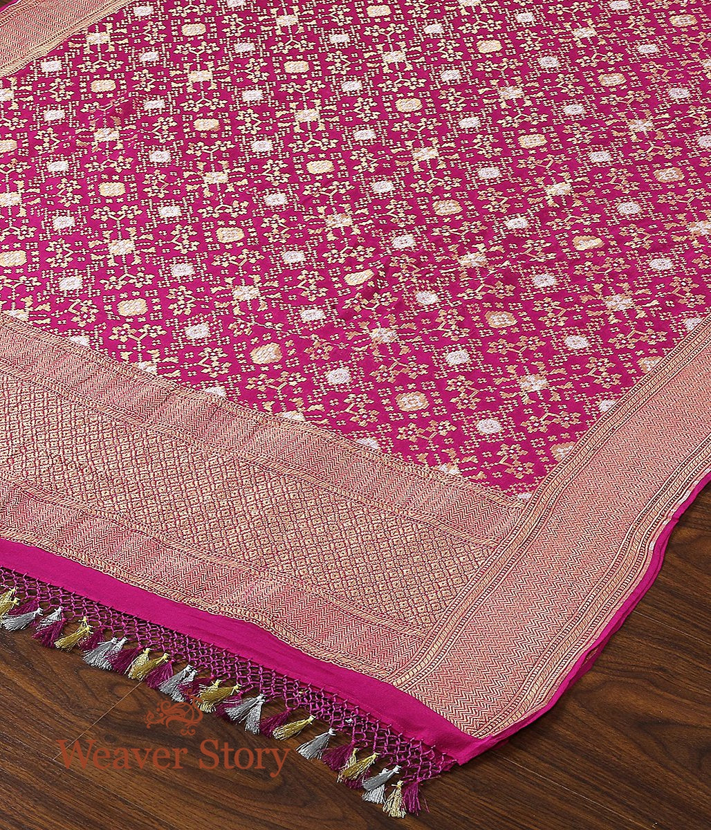 Handwoven Banarasi Georgette Cutwork Dupatta in Purple