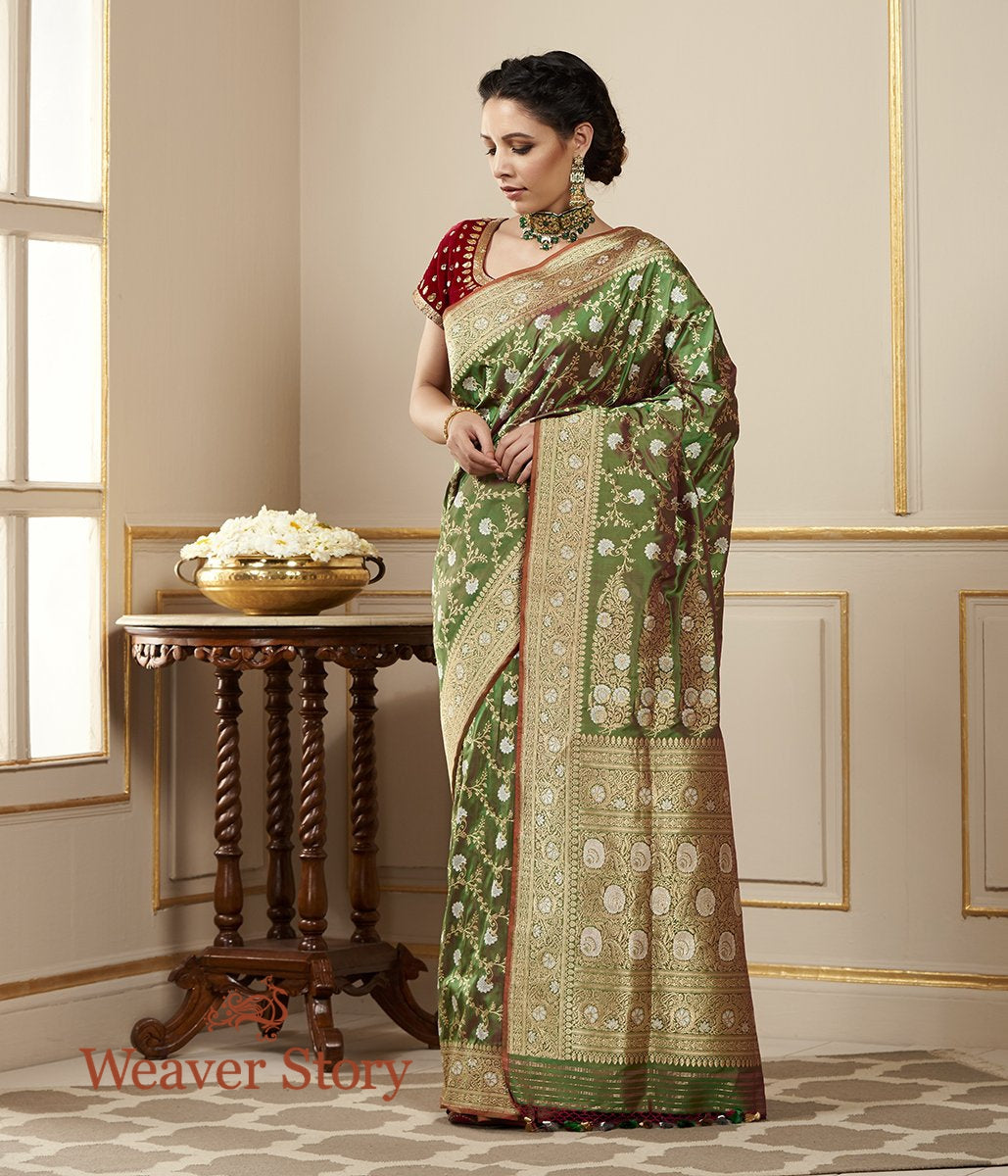 Handwoven Green and Red Kadhwa Banarasi Jangla Saree with Sona Rupa Zari