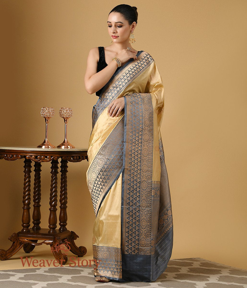 Handwoven Beige Katan Silk Saree with Grey Border and Pallu