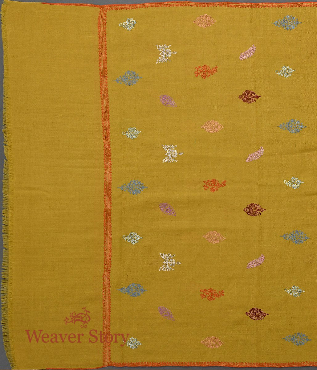Mustard Pashmina Stole with Multicolor Bootis