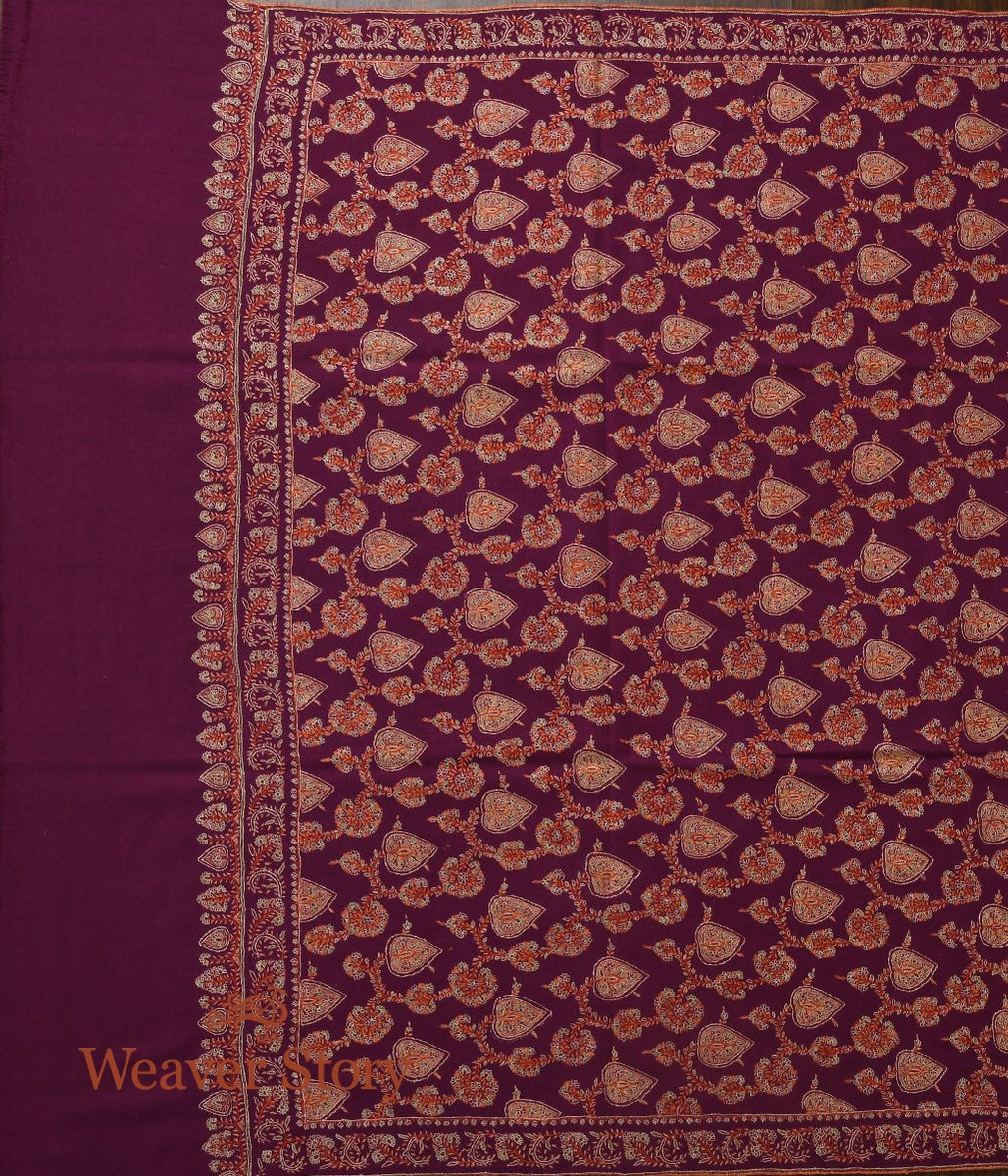 Plum All Over Jamawar Pashmina Shawl with Paan Leaf Motifs