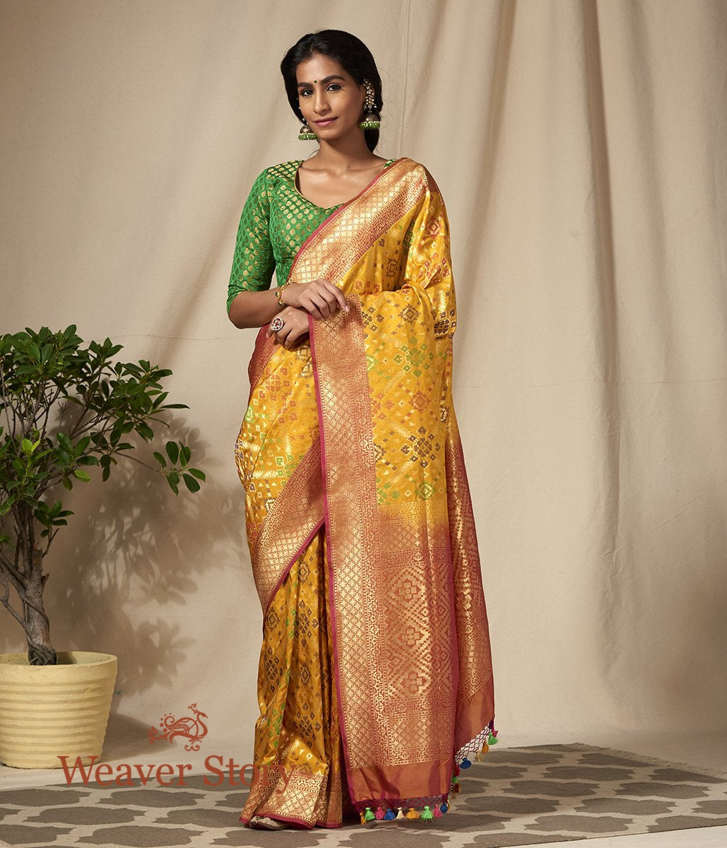 Handwoven Mustard Meenakari Banarasi Patola Saree with Peach Border