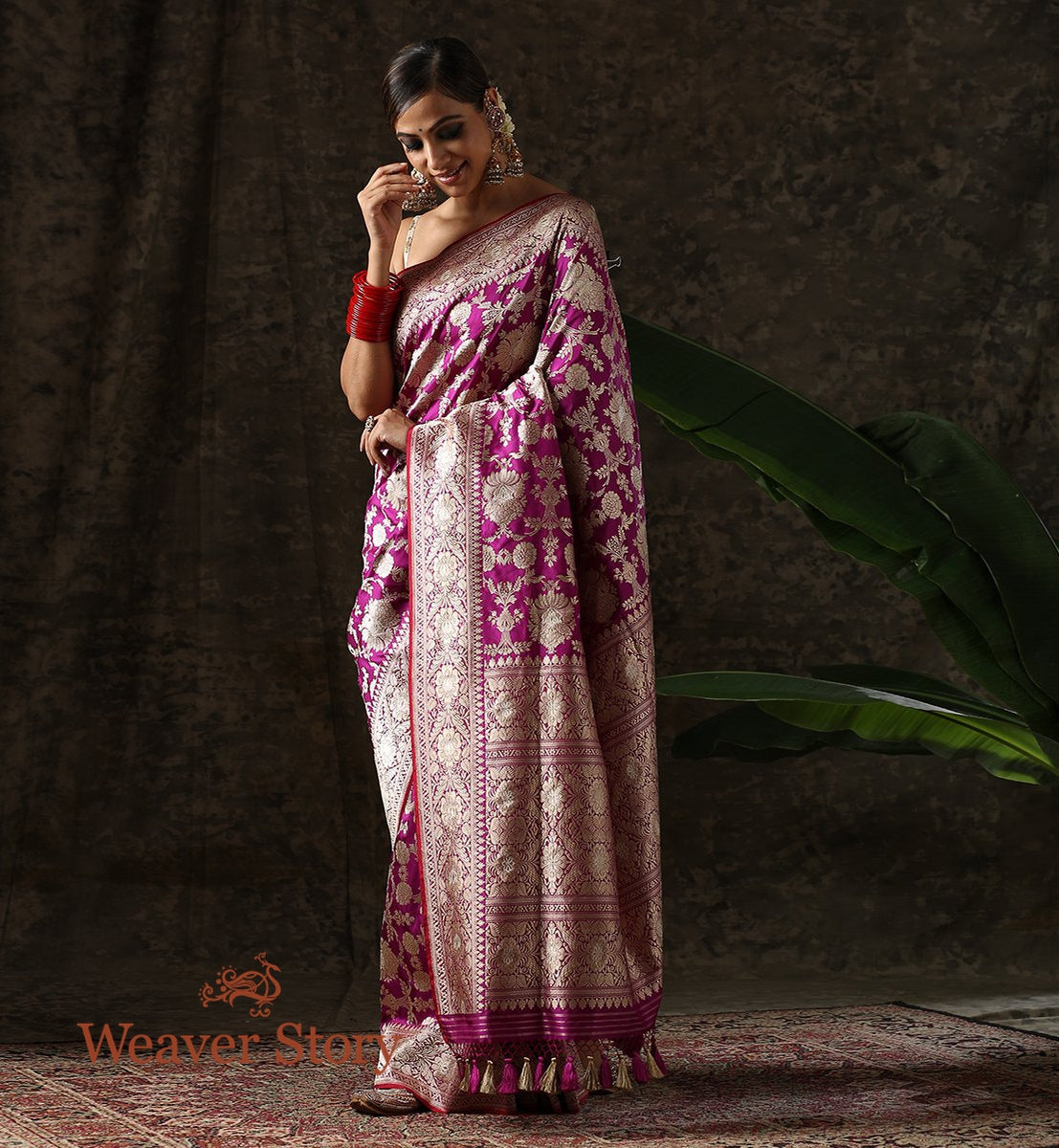 Handwoven Purple Kadhwa Jangla Saree with Meenakari