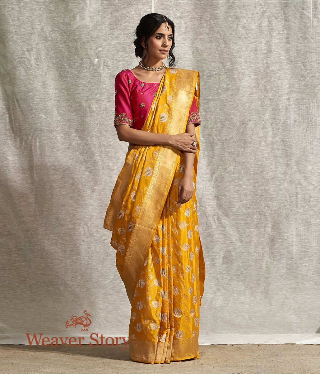 Handwoven Yellow Kadhwa Anaar Jangla Saree