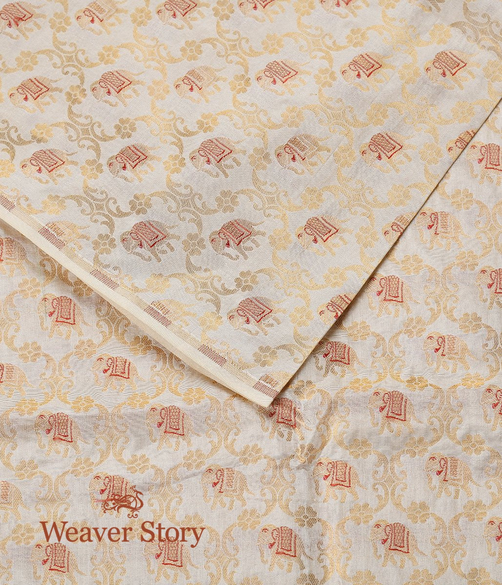 Handwoven Offwhite Banarasi SIlk Fabric with Small Elephant Motifs