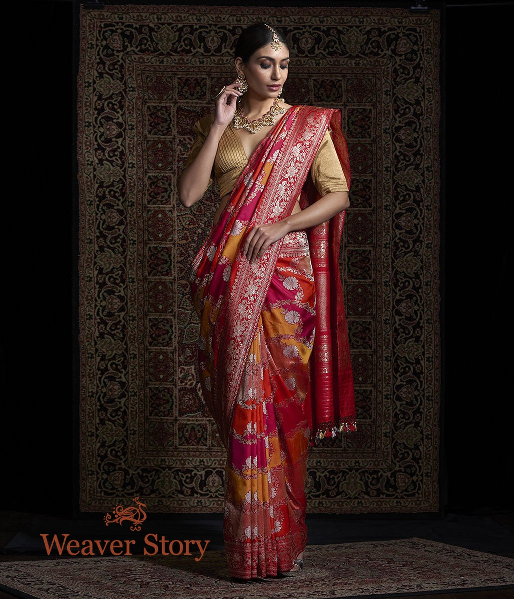 Handwoven Red and Orange Kadhwa Rangkaat Jangla Saree
