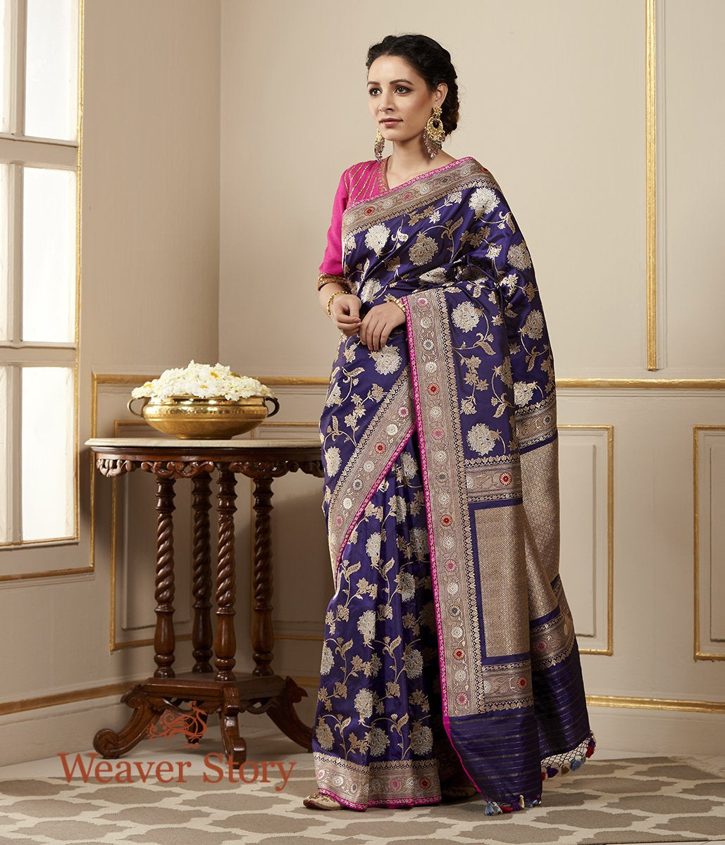 Handwoven Purple Sona Rupa Kadhwa Jangla Saree with Meenakari