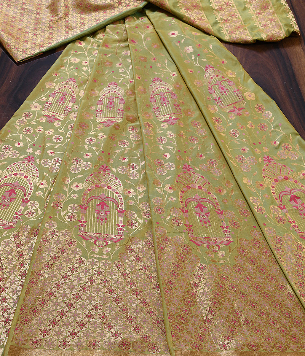 Handwoven Banarasi Lehenga in Green and Yellow Dual Tone with Meenakari