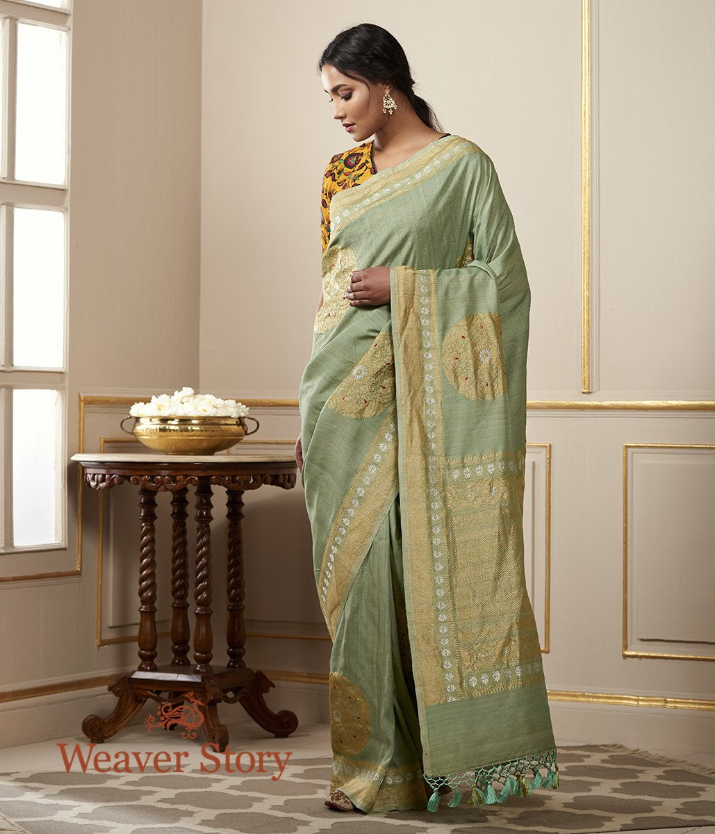 Handwoven Moss Green Tusser Georgette Saree with Kadhwa Boota and Meenakari