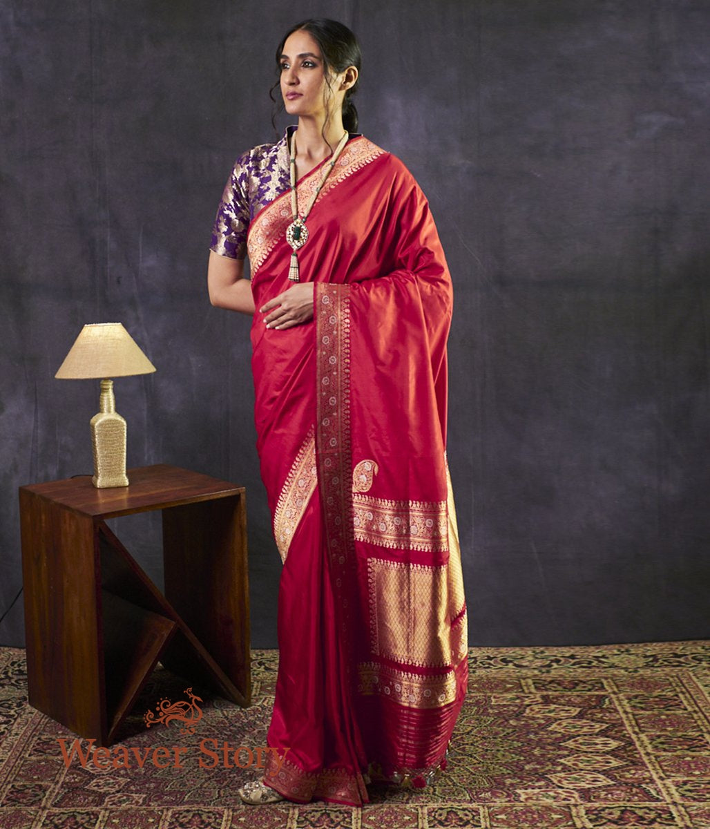 Handwoven Red Plain Saree with Gold and Silver Meenakri Border