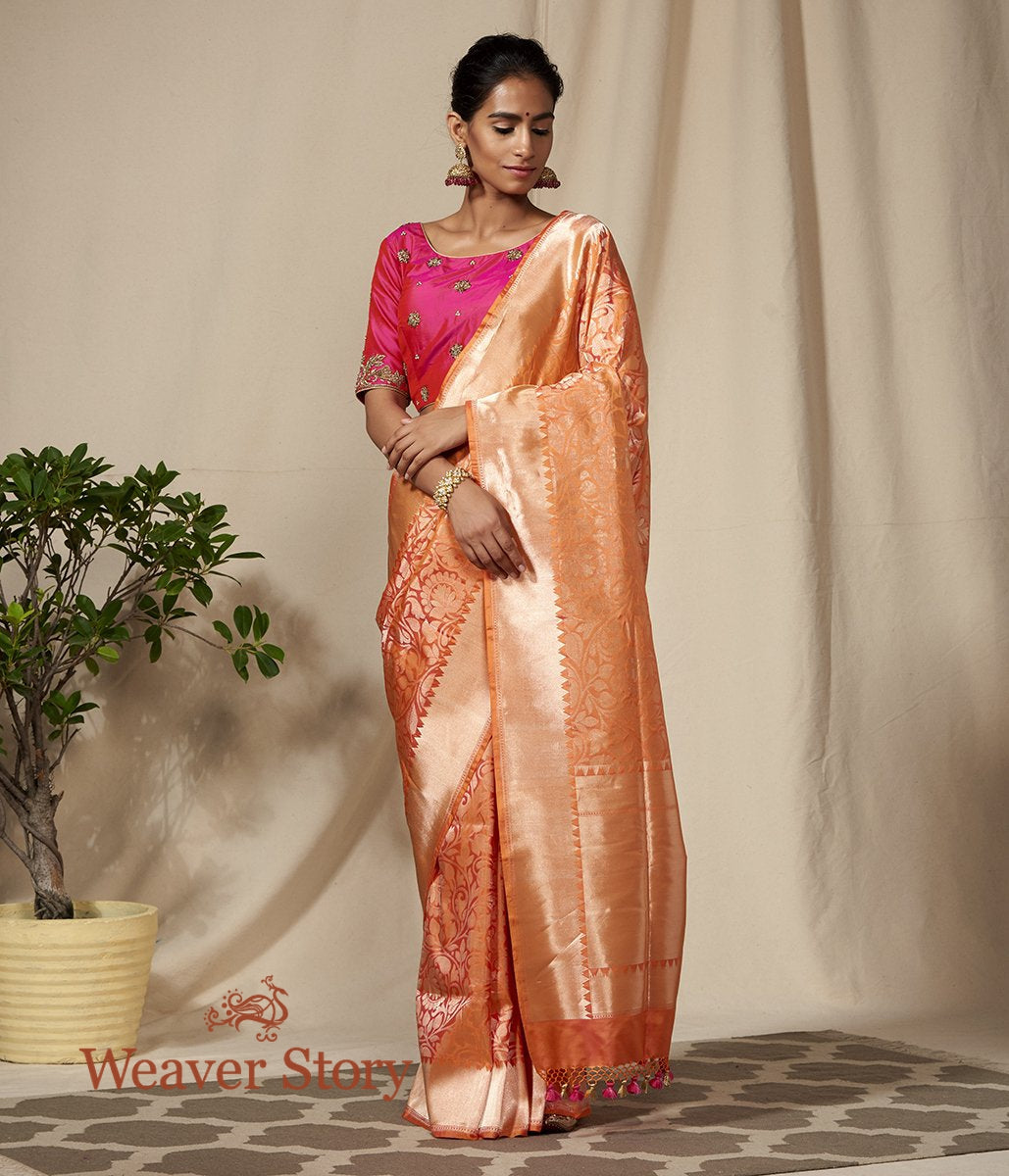 Handwoven Orange and Gold Dampaj Weave Saree With Temple Border