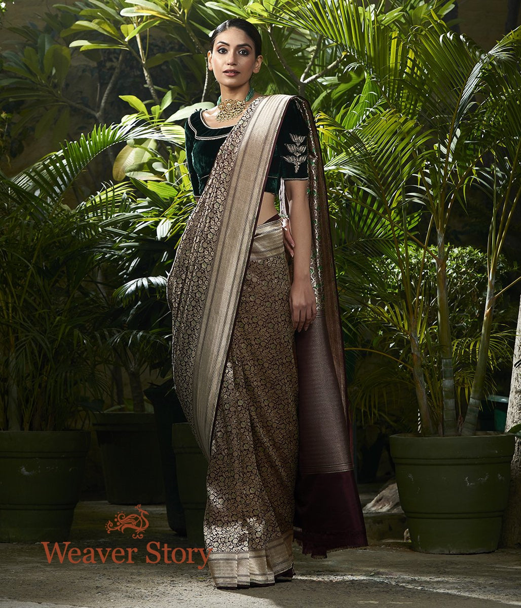 Handwoven Wine Kimkhab Saree with Green Meenakari