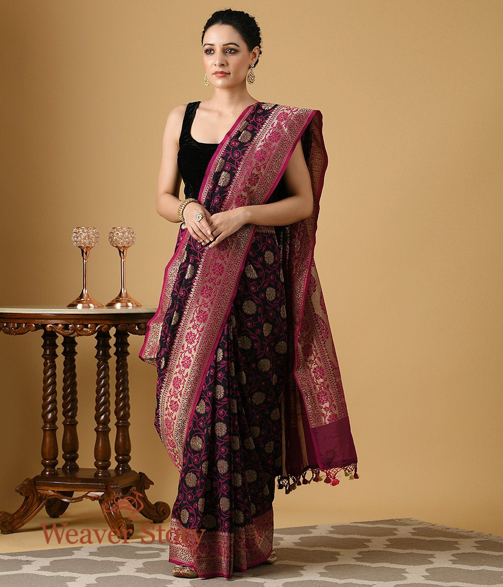 Handwoven Summer Silk Banarasi Saree in Black and Pink