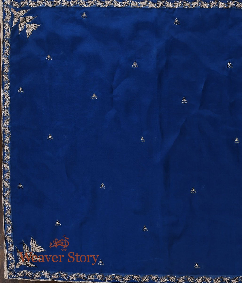 Blue Zardozi Dupatta with Leaf Border and Konia