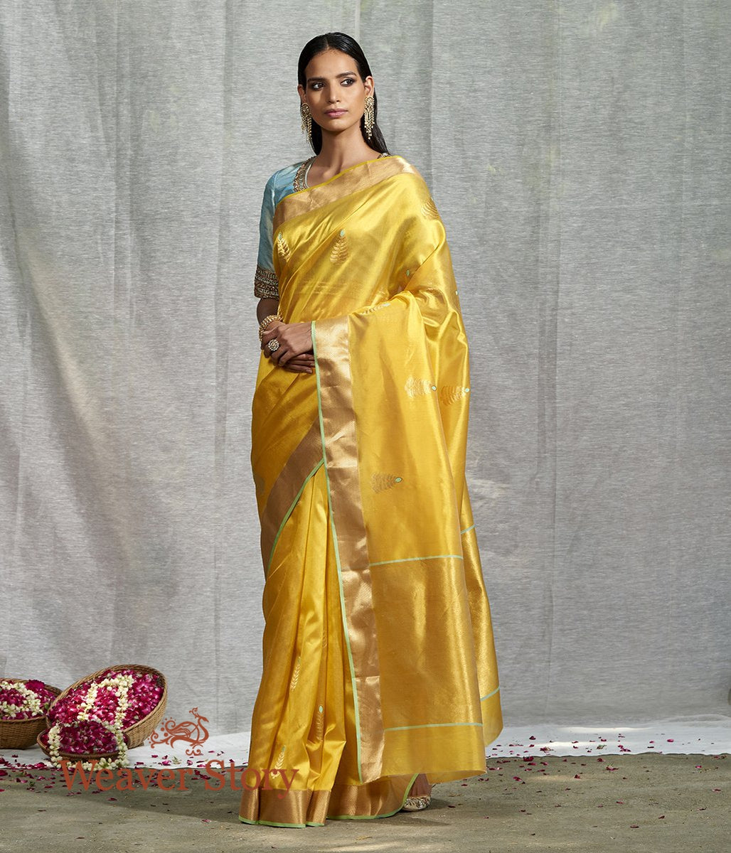 Handwoven Mustard Silk Saree with Meena Boota and Green Selvedge