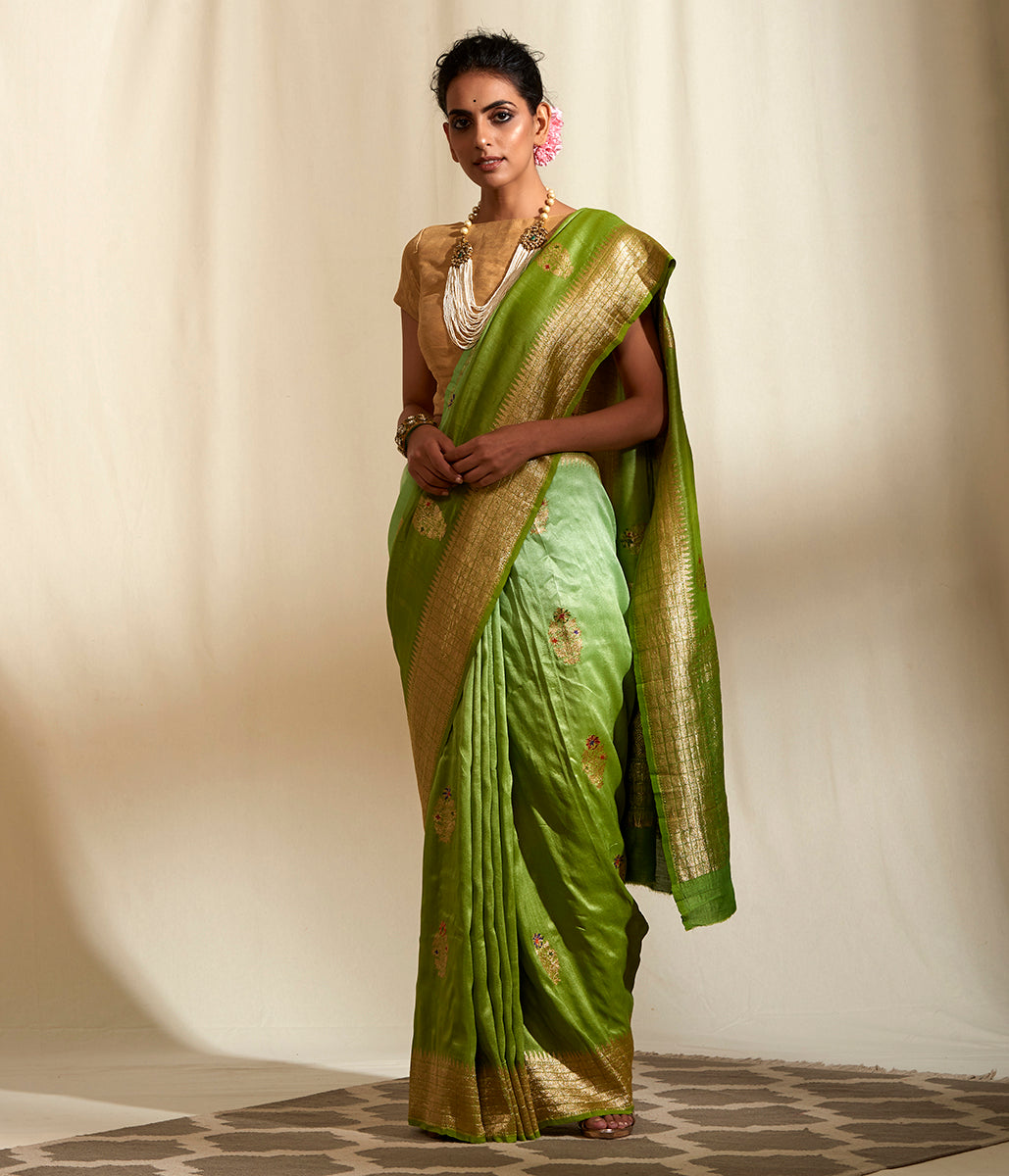 Handwoven Tusser Georgette Saree with Meenakari booti