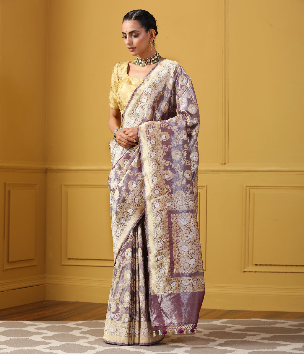 Handwoven Purple Silk Tissue Jangla Saree