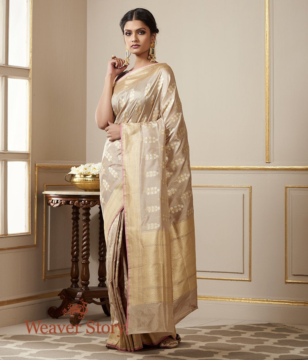 Handwoven Beige and Grey Dual Tone Saree with Sona Rupa Zari Boota