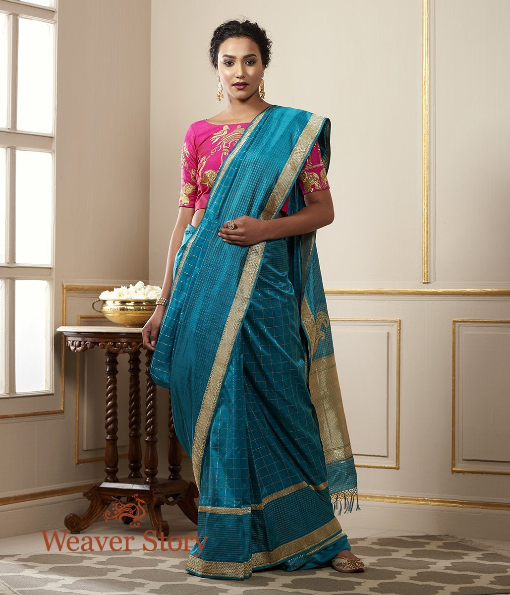 Handwoven Peacock Blue Zari Checks Saree with Konia