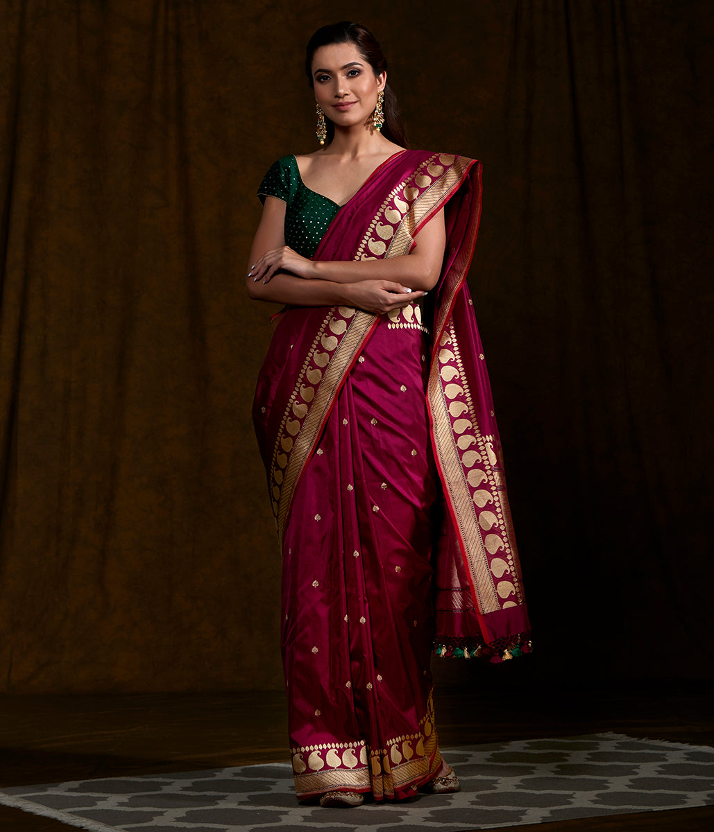 Handwoven Purple Dual Tone Paisley Border Saree