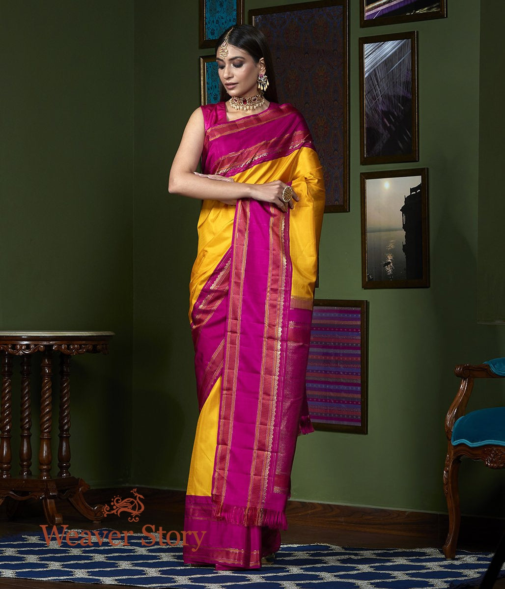 Handwoven Mustard Kanjivaram Saree with Majenta Border