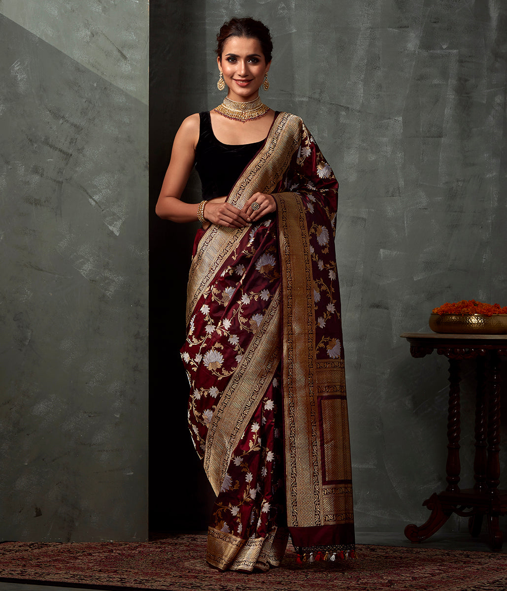 Handwoven Mahroon Brown Kadhwa Jangla Saree