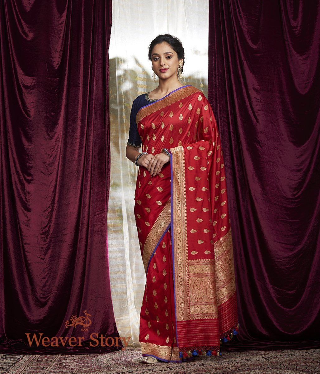 Handwoven Red Kadhwa Booti Saree with Meena