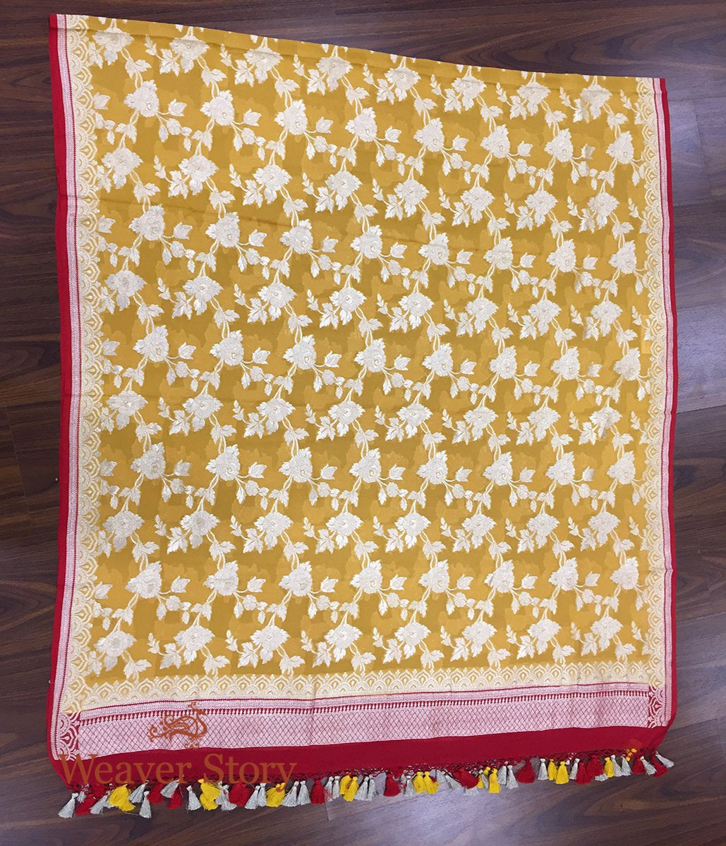 Handwoven Banarasi Georgette Dupatta in Mustard with Red Borders