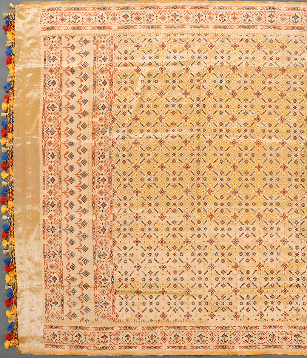 Handwoven Yellow Tissue Patola Dupatta