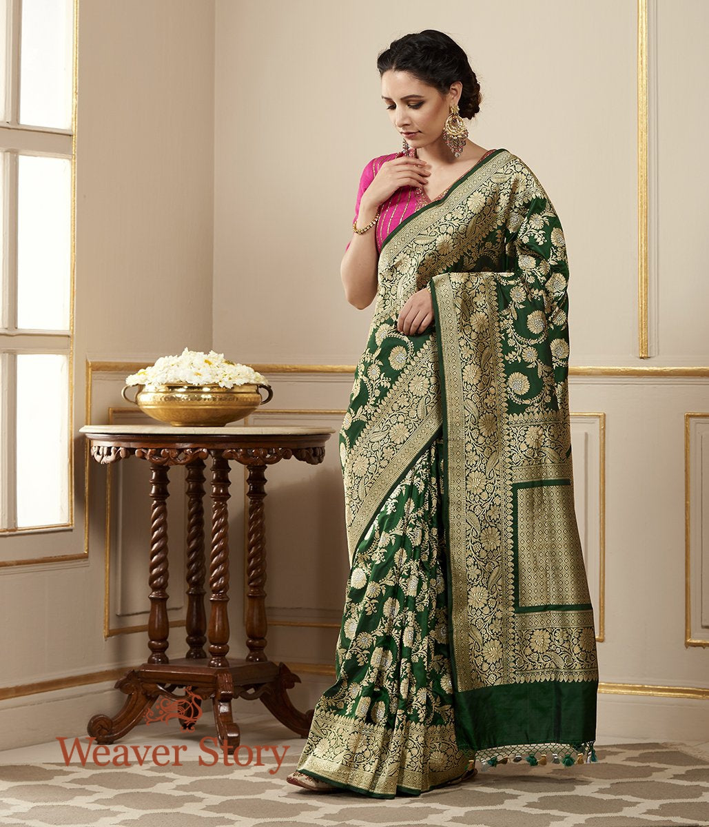 Handwoven Bottle Green Kadhwa Jangla Saree