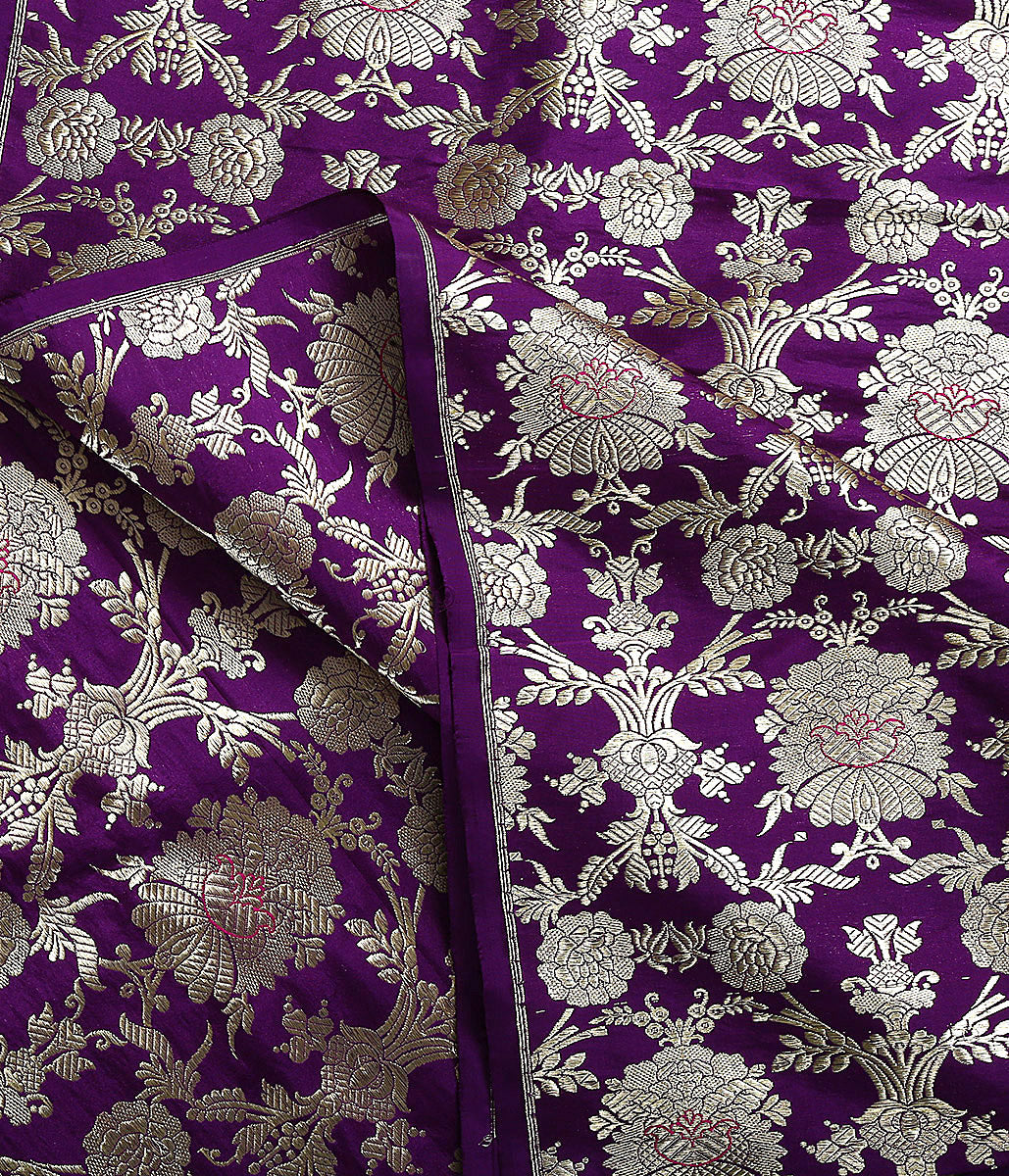 Handwoven Banarasi Purple Kadhwa Jangla Fabric