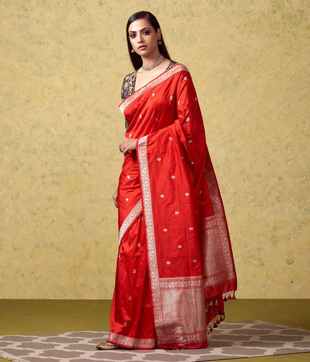Handwoven Red Katan Silk Banarasi with Small Floral Motifs and Blue Blouse