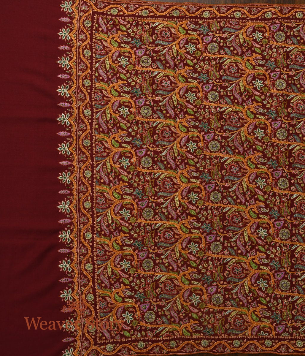 Maroon All Over Reshmi Jamawar Shawl in Fine Handwoven Pashmina