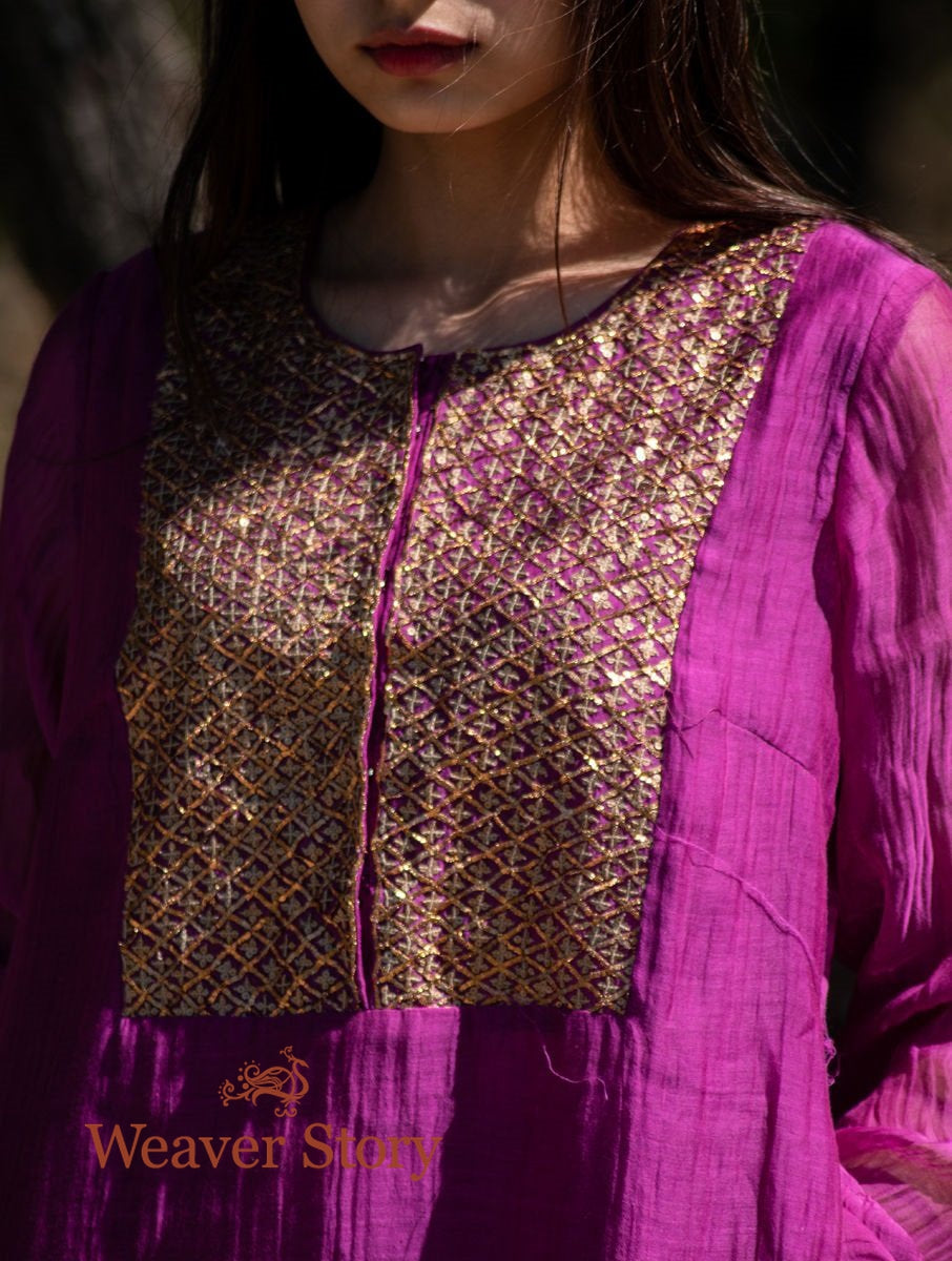 Hot Pink Handwoven Mul Chanderi Kurta with Hand Embroidery and Cotton Pants