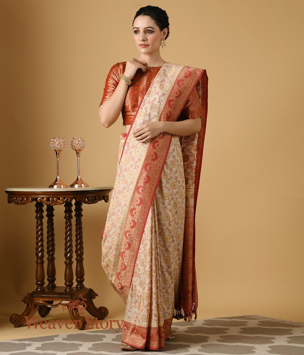 Handwoven Offwhite and Red Summer Silk Saree