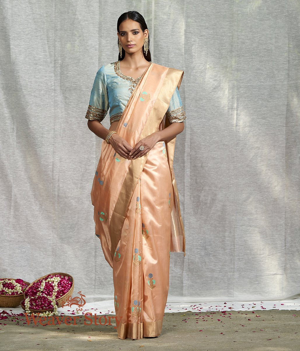 Handwoven Peach with 3 Color Floral Motif Silk Saree