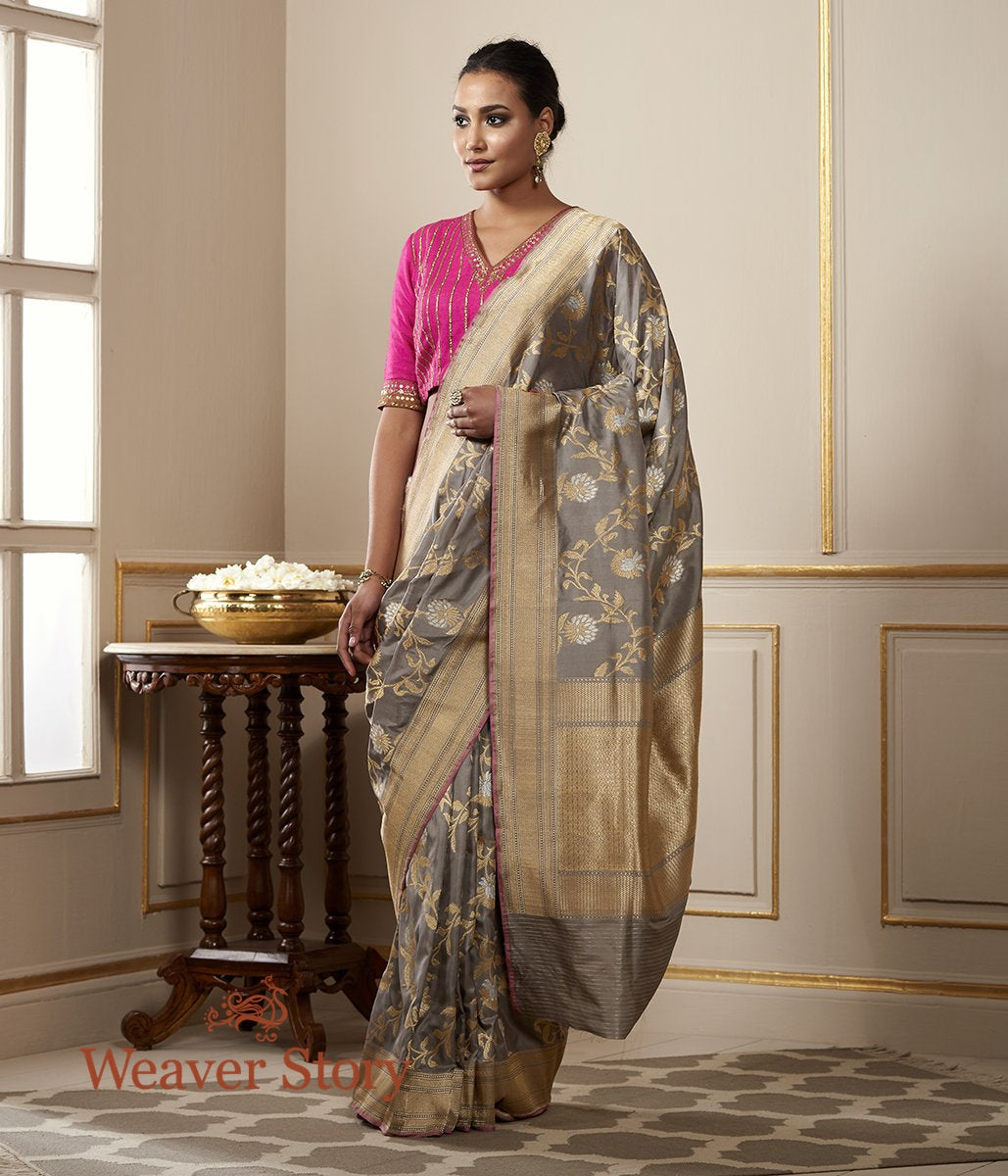 Handwoven Grey and Beige Banarasi Jangla with Pink Selvedge