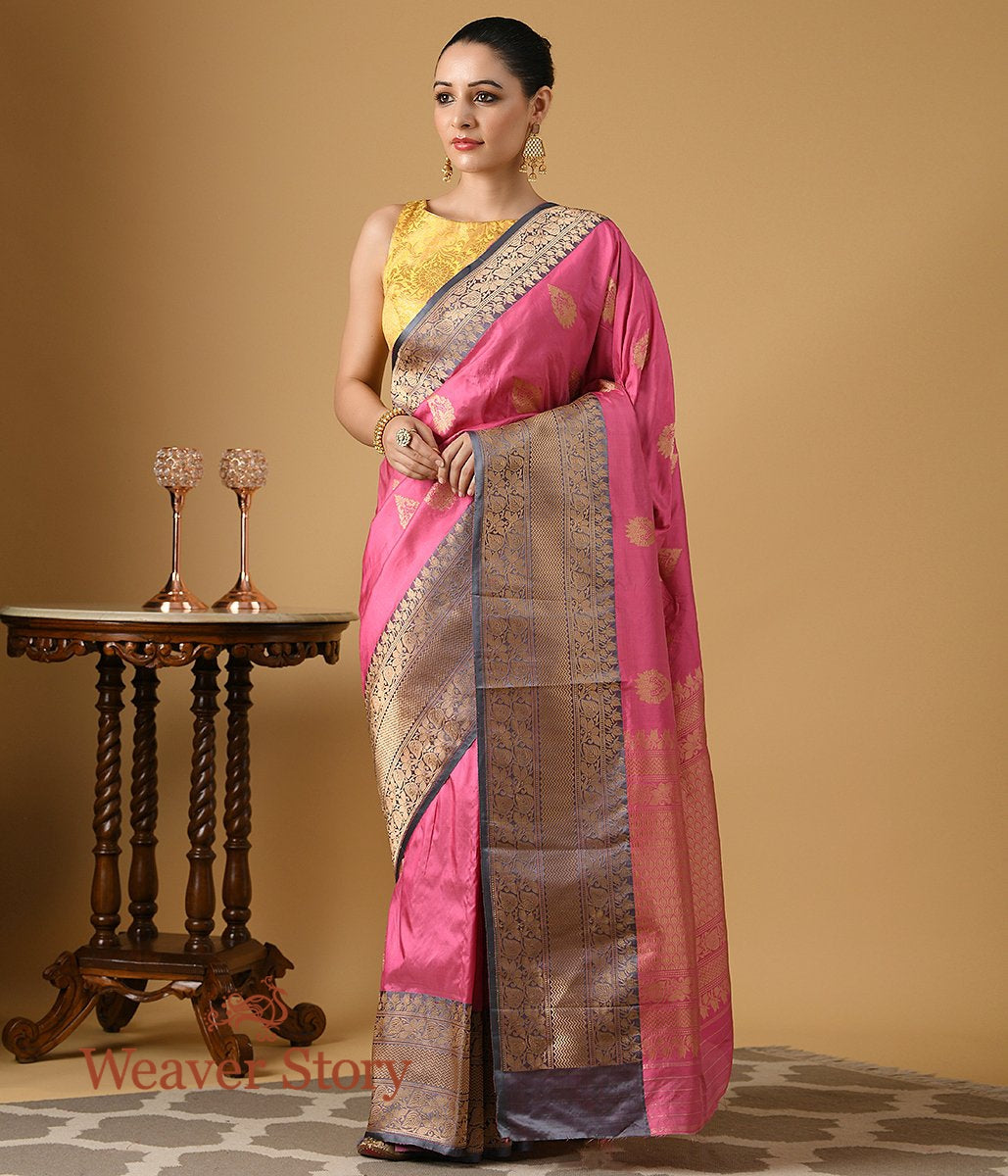 Handwoven Pink Katan  Silk Saree with Gold Zari Boota and Contrast Grey Border