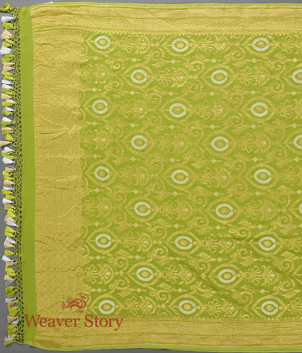 Handwoven Green Banarasi Grorgette Dupatta with Gold and Silver Zari Jaal