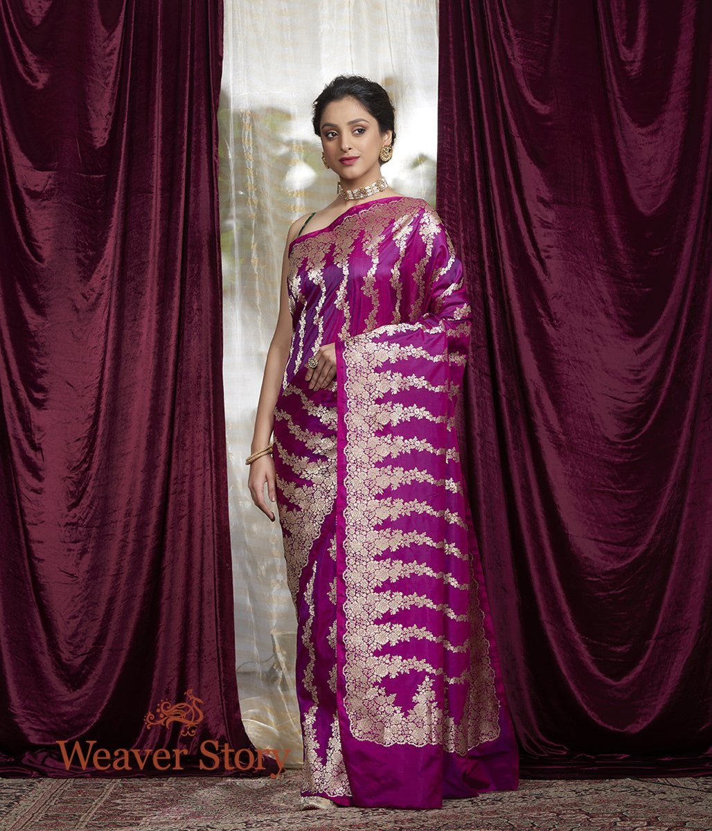 Handwoven Purple Vertical Floral Bel Banarasi Saree