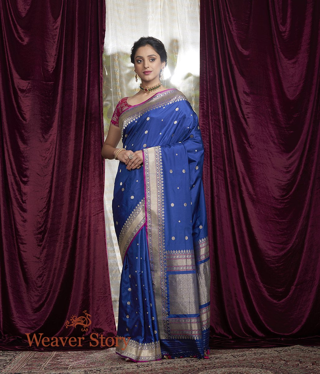 Handwoven Blue Floral Booti Saree with Purple Brocade Blouse